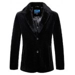 Rhombus Pattern Fur Lapel Long Sleeve Coat ODM Designer