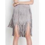 cheap High Waist Tiered Fringed Suede Skirt