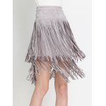 High Waist Tiered Fringed Suede Skirt deal