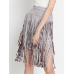 High Waist Tiered Fringed Suede Skirt for sale
