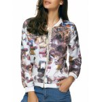 Long Sleeves Zipped Printed Jacket