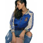 cheap Raglan Sleeves Applique Striped Jacket