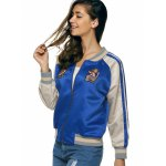 Raglan Sleeves Applique Striped Jacket deal