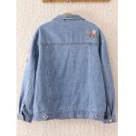 cheap Floral Embroidered Frayed Jean Jacket