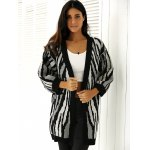 cheap Loose-Fitting Striped Puff Sleeves Cardigan