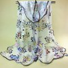 Ethnic Colorful Flowers Pattern Covered Edge Soft Scarf
