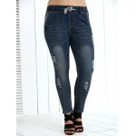 Plus Size Drawstring Ripped High Waisted Jeans