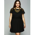 cheap Plus Size Lace Patchwork Tie Back Dress
