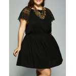 Plus Size Lace Patchwork Tie Back Dress