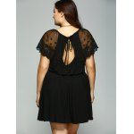 Plus Size Lace Patchwork Tie Back Dress for sale