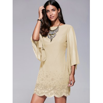 Bell Sleeve Scalloped Long Sleeve Shift DressLong Sleeve Dresses<br>Bell Sleeve Scalloped Long Sleeve Shift Dress<br><br>Dresses Length: Mini<br>Material: Polyester<br>Neckline: Jewel Neck<br>Package Contents: 1 x Dress<br>Pattern Type: Insect<br>Season: Fall, Spring, Summer<br>Silhouette: Straight<br>Sleeve Length: 3/4 Length Sleeves<br>Style: Brief<br>Weight: 0.314kg<br>With Belt: No
