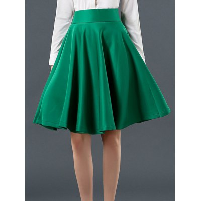 High Waist Ruffled Pure Color Skirt