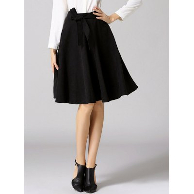 High Waist Pure Color Bowknot Skirt
