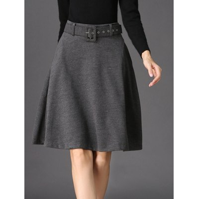 Pure Color A-Line Belted Skirt