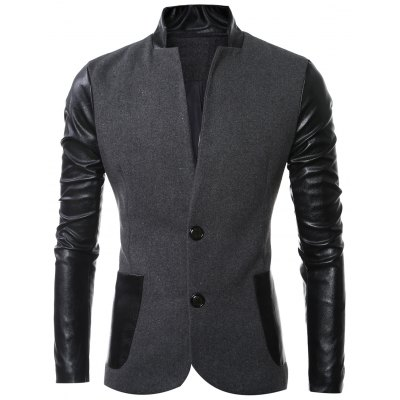 Stand Collar Long Sleeves Slit Back Leather Spliced Woolen Jacket