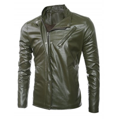 side-zip-up-long-sleeves-faux-leather-jacket