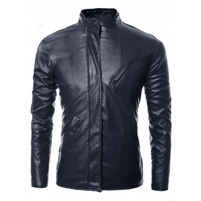 Side Zip Up Long Sleeves Faux Leather Jacket