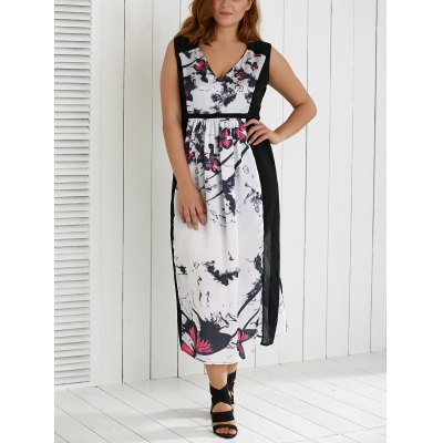 Plus Size V Neck Ink Painting Furcal Maxi Dress