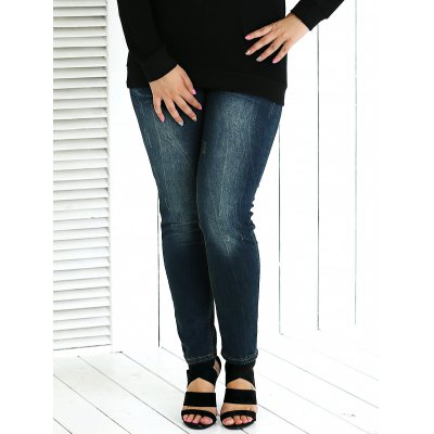 Plus Size Frayed Crease Pencil Jeans