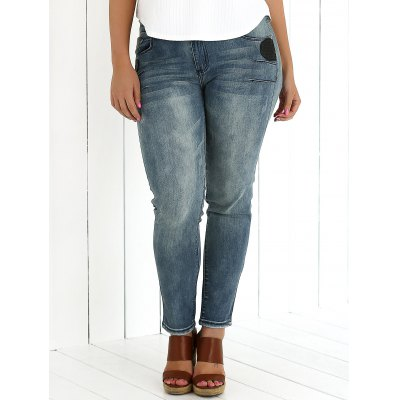 Appliqued Crease Pencil Jeans