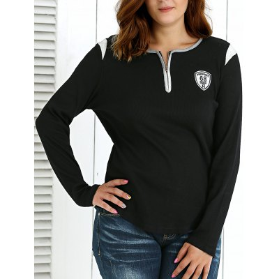 Casual Zipper Embellished Pullover