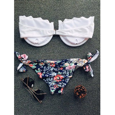 Alluring Strapless Tiny Floral Print Bikini Set For WomenWomens Swimwear<br>Alluring Strapless Tiny Floral Print Bikini Set For Women<br><br>Bra Style: Padded<br>Elasticity: Elastic<br>Embellishment: Scalloped<br>Gender: For Women<br>Material: Nylon<br>Neckline: Strapless<br>Package Contents: 1 x Bra  1 x Briefs<br>Pattern Type: Floral<br>Support Type: Underwire<br>Swimwear Type: Bikini<br>Waist: Natural<br>Weight: 0.2200kg