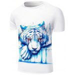 cheap Round Neck 3D Crying Lion Print Short Sleeve Stylish T-Shirt For Men
