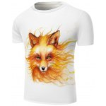 cheap White Round Neck Cool Wolf Head Pattern Slimming Short Sleeves 3D T-Shirt For Men