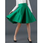 cheap High Waist Pure Color Ruffled Skirt