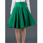 High Waist Pure Color Ruffled Skirt