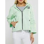 Candy Color Appliqued Zippers Hoodie Jacket