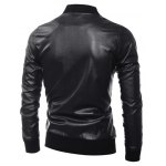 Zippered Rib Splicing Stand Collar Long Sleeves PU Leather Jacket deal