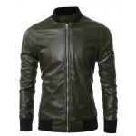 Zippered Rib Splicing Stand Collar Long Sleeves PU Leather Jacket 11027