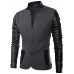 cheap Stand Collar Long Sleeves Slit Back Leather Spliced Woolen Jacket