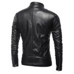 Side Zip Up Long Sleeves Faux Leather Jacket for sale