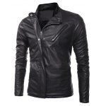 cheap Side Zip Up Long Sleeves Faux Leather Jacket
