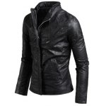 Side Zip Up Long Sleeves Faux Leather Jacket deal