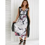 Plus Size V Neck Ink Painting Furcal Maxi Dress deal