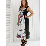 Plus Size V Neck Ink Painting Furcal Maxi Dress for sale