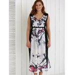 cheap Plus Size V Neck Ink Painting Furcal Maxi Dress