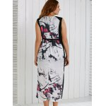 best Plus Size V Neck Ink Painting Furcal Maxi Dress