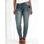 cheap Plus Size Appliqued Crease Pencil Jeans