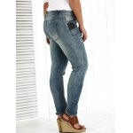 Plus Size Appliqued Crease Pencil Jeans deal