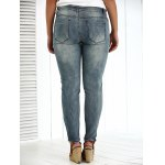 Plus Size Appliqued Crease Pencil Jeans for sale