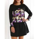 Plus Size Floral Sweatshirt and Mini Skirt