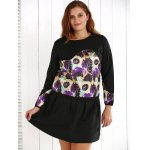 cheap Plus Size Floral Sweatshirt and Mini Skirt