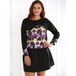 Plus Size Floral Sweatshirt and Mini Skirt deal