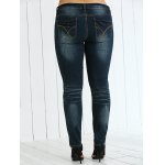 Plus Size Frayed Crease Pencil Jeans for sale