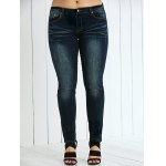 cheap Plus Size Frayed Crease Pencil Jeans