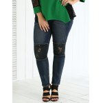 cheap Plus Size Frayed Appliqued Black Skinny Jeans